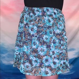 women's teal and blue floral skirt